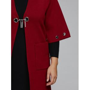 Collarless Plus Size Coat with Pockets -