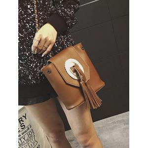 Snap Closure Tassels Chain Crossbody Bag -
