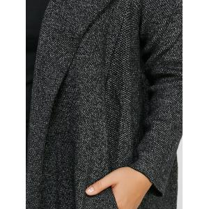 Long Hooded Plus Size Cardigan With Pockets -