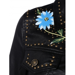 Butterfly Embroidery Faux Leather Jacket -