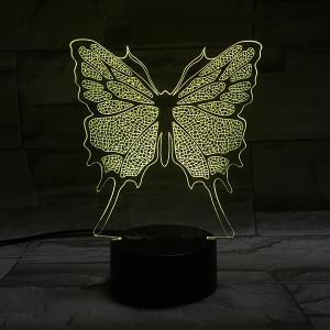 Home Decor 3D Illusion Stereo Color Changing Butterfly LED Night Light - COLORFUL