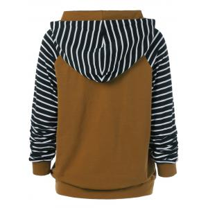 Striped Trim Drawstring Hoodie -