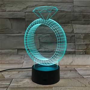 3D Illusion Ring 7 Color Changing LED Valentine Gift Night Light -