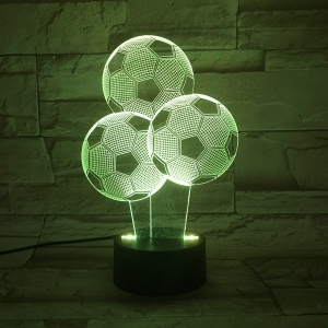 Colorful 3D Visual Stereo Three Football LED Bedroom Night Light -