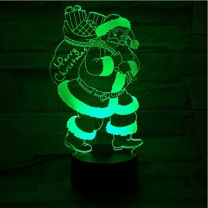 3D Illusion Christmas Santa 7 Color Changing LED Gift Night Light -