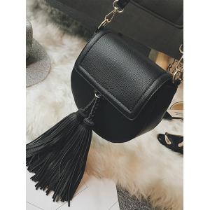 Textured PU Leather Tassel Crossbody Bag -