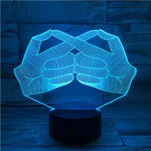 Creative 3D Visual Stereo Gesture Colorful LED Bedroom Night Light -