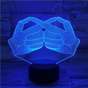 Creative 3D Visual Stereo Gesture Colorful LED Bedroom Night Light - COLORFUL