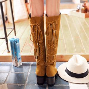 Platform Tassels Tie Up Knee-High Boots -