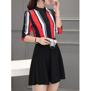 Colorful Striped Patchwork Swing Dress - RED 2XL
