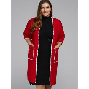 Open Front Plus Size Coat with Pocket -