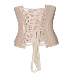 Lace-Up Buckle Corset - APRICOT L