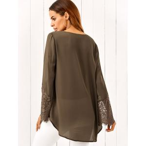 Lace Patchwork Sleeve High Low Blouse -