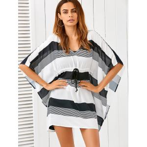 Butterfly Sleeve Drawstring Striped Cover-Up -