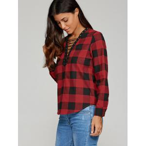 Lace-Up Plaid Blouse -