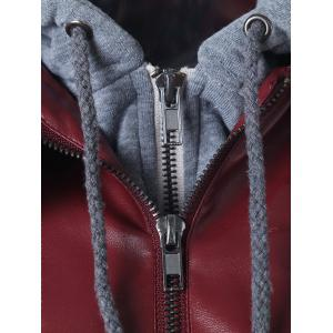 Zippered Faux Leather Insert Jacket -