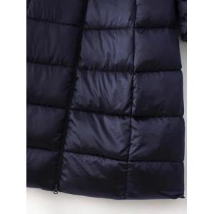 Long Sleeve Hooded Quilted Long Winter Jacket - BLACK 2XL