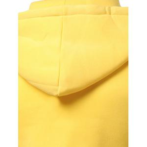 Contrast Paneled Drawstring Zippered Two Tone Hoodie - YELLOW 2XL