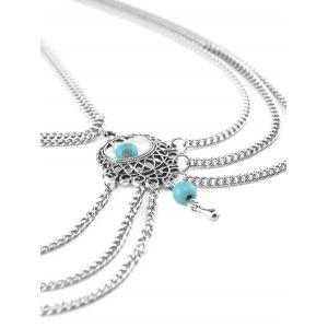 Bohemian Faux Turquoise Beads Necklace - SILVER