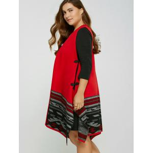 Plus Size Handkerchief Waistcoat with Chinese Button -