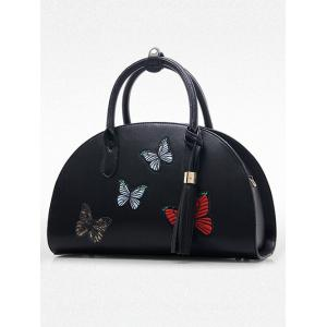 Butterfly Embroidered Tassel PU Leather Handbag - APRICOT