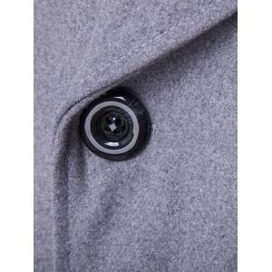 Double Breasted Spliced Wool Blend Coat - GRAY XL