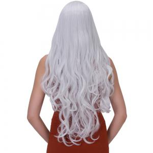 Ultra Long Centre Parting Wavy Party Wig - SILVER WHITE