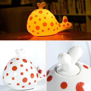 Essential Oil Drive Midge Purify Air Cartoon Ceramic Dolphin Night Light - ORANGE RED