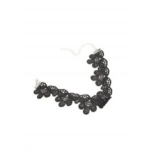 Knitted Floral Choker Necklace - BLACK