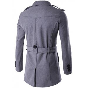 Double Breasted Epaulet Design Trench Coat - GRAY 2XL