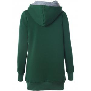 Double-Hood Zippered Pocket Hoodie - GREEN XL
