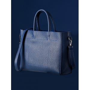 Concise Stitching Textured PU Leather Tote - BLUE