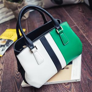 Colour Spliced PU Leather Metal Tote Bag -