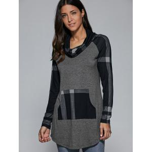 Cowl Neck Plaid Patchwork Pullover -