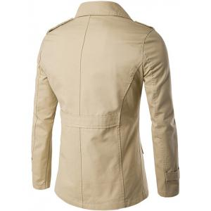 Single Breasted Epaulet Design Wind Coat - KHAKI 2XL