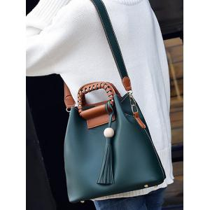 Wood Ball PU Leather Tassel Handbag -