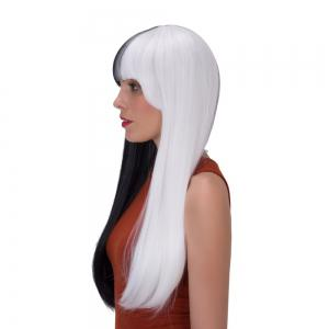 Stunning Double Color Long Full Bang Straight Tail Adduction Synthetic Wig - WHITE/BLACK