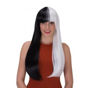 Stunning Double Color Long Full Bang Straight Tail Adduction Synthetic Wig - WHITE AND BLACK