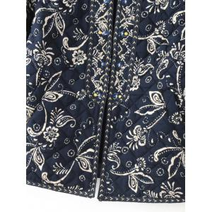 Ethnic Floral Embroidered Fitted Jacket - CADETBLUE M