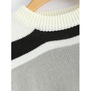 Color Block Striped Drop Shoulder Sweater - BLACK ONE SIZE