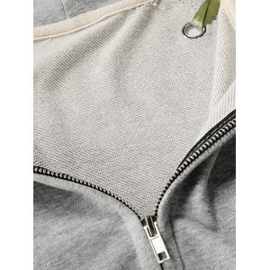 Front Pocket Ribbon Lace Up Zipper Hoodie - BLACK ONE SIZE