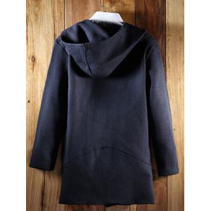 Hooded Oblique Zipper Design Lengthen Knit Blends Cardigan - CADETBLUE 2XL