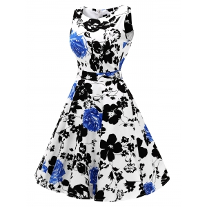Sleeveless Flower Print Flare Dress - BLUE 2XL