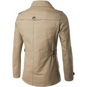 Single Breasted Zipper Pocket Epaulet Coat -