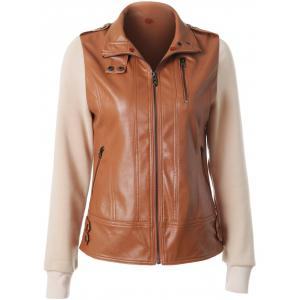 Zipper Embellished Faux Leather Insert Jacket - CAMEL 2XL