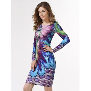 Peacock  Feather Printed Bodycon Midi Dress With Sleevees - PEACOCK BLUE 2XL
