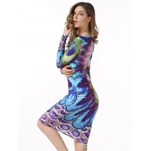 Peacock  Feather Printed Bodycon Midi Dress With Sleeves -
