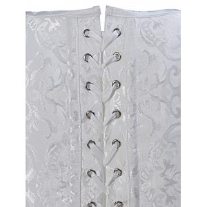 Paisley Lace-Up Corset Vest - WHITE 6XL