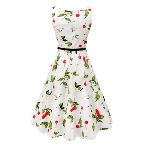 Sleeveless Cherry Print Belted Flare Dress -