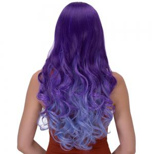 Stunning Long Side Bang Wavy Ombre Color Synthetic Wig - BLUE / PURPLE